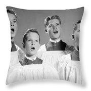 Four Choir Boys Singing, C.1950-60s Throw Pillow