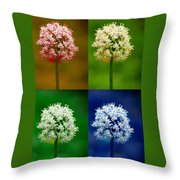 Four Colorful Onion Flower Power Throw Pillow