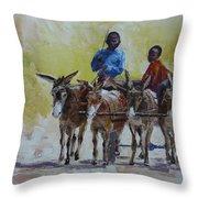 Four Donkey Drawn Cart Throw Pillow