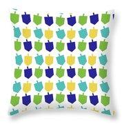 Four Dreidels Pattern- Art By Linda Woods Throw Pillow