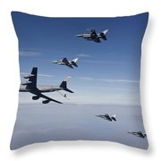 Four F-16s And A Kc-135 Fly Throw Pillow by HIGH-G Productions