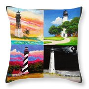 Four Florida Lighthouses Throw Pillow