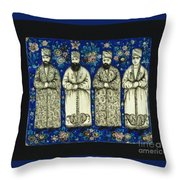 four grandees associated with the court of Nasir al-Din Shah Throw Pillow