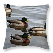 Four Green Heads Throw Pillow