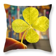 Four Leaf Clover In Studio 2 Throw Pillow