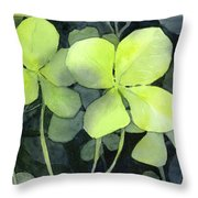 Four Leaf Clover Watercolor Throw Pillow