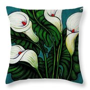 Four Long Lilies Throw Pillow