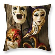 Four Masks Throw Pillow