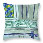 Four Of Swords Illustrated Throw Pillow