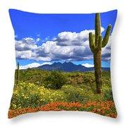 Four Peaks And Poppies, Springtime, Arizona Throw Pillow