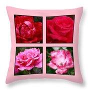 Four Roses Throw Pillow