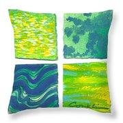 Four Squares Blue, Green, Yellow Throw Pillow