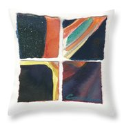 Four Squares Orange Slash Throw Pillow
