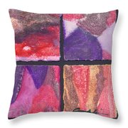 Four Squares Purple, Red, Brown, Lavender Throw Pillow