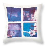 Four Squares Turquoise Flow Throw Pillow