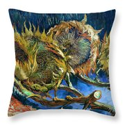 Four Sunflowers Gone To Seed, By Vincent Van Gogh, 1887, Kroller Throw Pillow