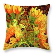 Four Sunflowers Throw Pillow