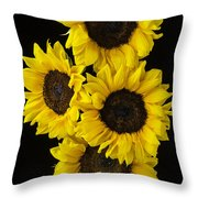 Four Sunny Sunflowers Throw Pillow