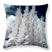 Four Tropical Pines Infrared Throw Pillow