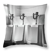 Four Urinals In A Row Bw Throw Pillow