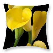Four Yellow Calla Lilies Throw Pillow