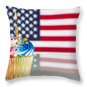Fourth Of July Cupcake With Light Candle  Throw Pillow