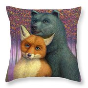 Fox And Bear Couple Throw Pillow