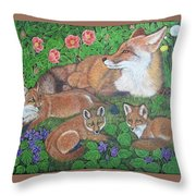 Fox And Kits Throw Pillow