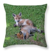 Fox Cubs Chilling Out Throw Pillow