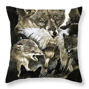 Fox Delivering Food To Its Cubs  Throw Pillow by English School