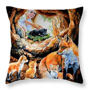 Fox Family Addition Throw Pillow
