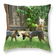 Fox Family Throw Pillow by Deleas Kilgore