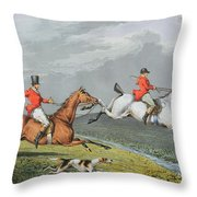 Fox Hunting - Full Cry Throw Pillow by Charles Bentley