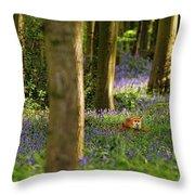 Fox In Bluebells Throw Pillow