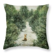 Fox In The Flurries Throw Pillow
