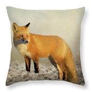 Fox In The Snowstorm - Painting Throw Pillow