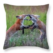 Fox Kitts Playing Throw Pillow