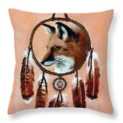 Fox Medicine Wheel Throw Pillow