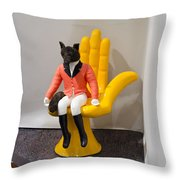 Fox On Hand Chair Throw Pillow