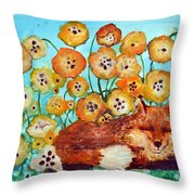 Fox Says Come And Sit With Me Throw Pillow