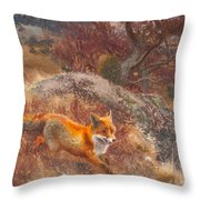 Fox With Hounds Throw Pillow