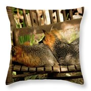 Foxes In A Chair Throw Pillow
