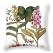 Foxglove And Herb Paris Throw Pillow