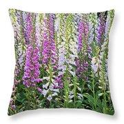 Foxglove Garden - Digital Art Throw Pillow