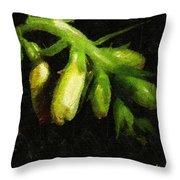 Foxglove On Wood Panel Throw Pillow