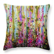 Foxgloves Large Painting Throw Pillow