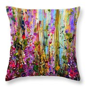 Foxgloves Panel One Throw Pillow