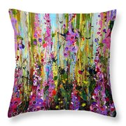 Foxgloves Panel Two Throw Pillow