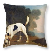 Foxhound On The Scent Throw Pillow by George Stubbs
