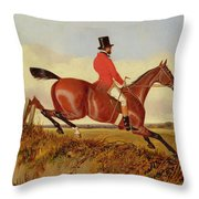 Foxhunting - Clearing A Bank Throw Pillow